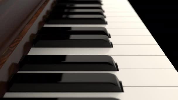 Közelkép kamera lassan mozog a klasszikus nagy zongora billentyűzet