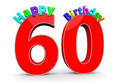 The big red number 60 with Happy Birthday