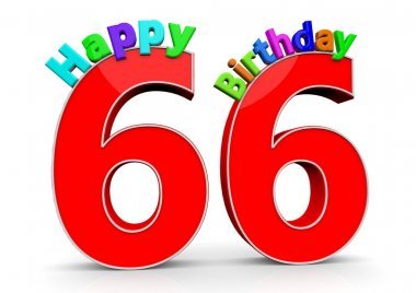 The big red number 66 with Happy Birthday