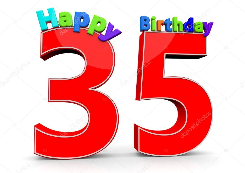 The Big Red Number 35 With Happy Birthday U2014 Stock Photo