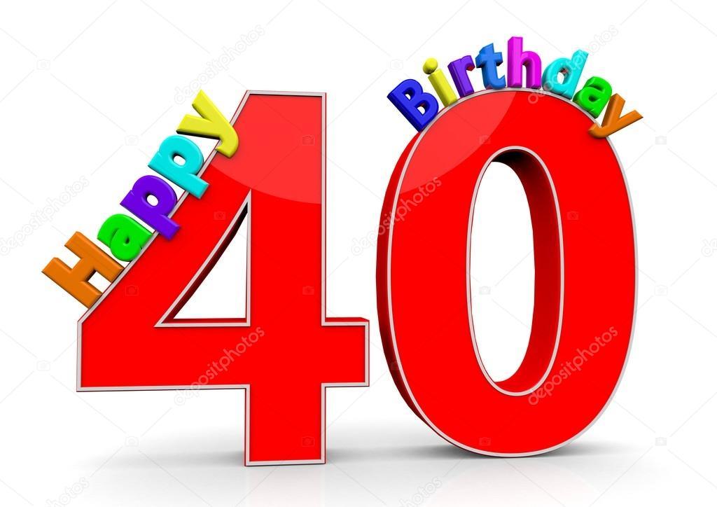 Imagenes De Cumpleanos Numero 40.El Gran Rojo Numero 40 Con Feliz Cumpleanos Foto De Stock