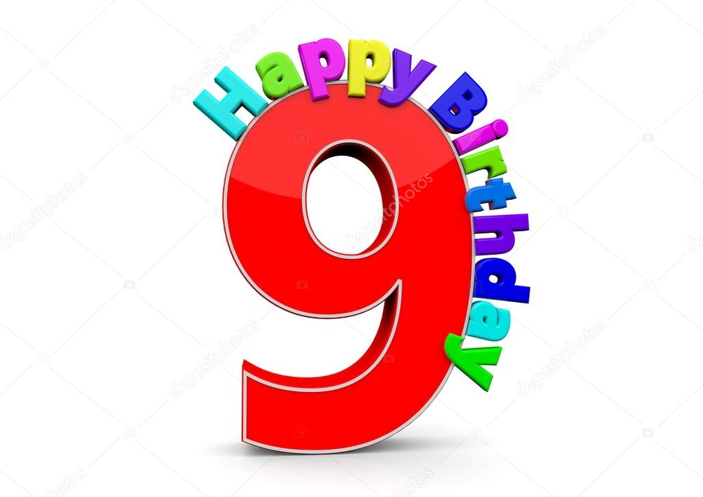 the big red number 9 with happy birthday  u2014 stock photo