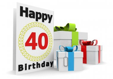 A birthday card with the age, happy birthday and presents stock vector