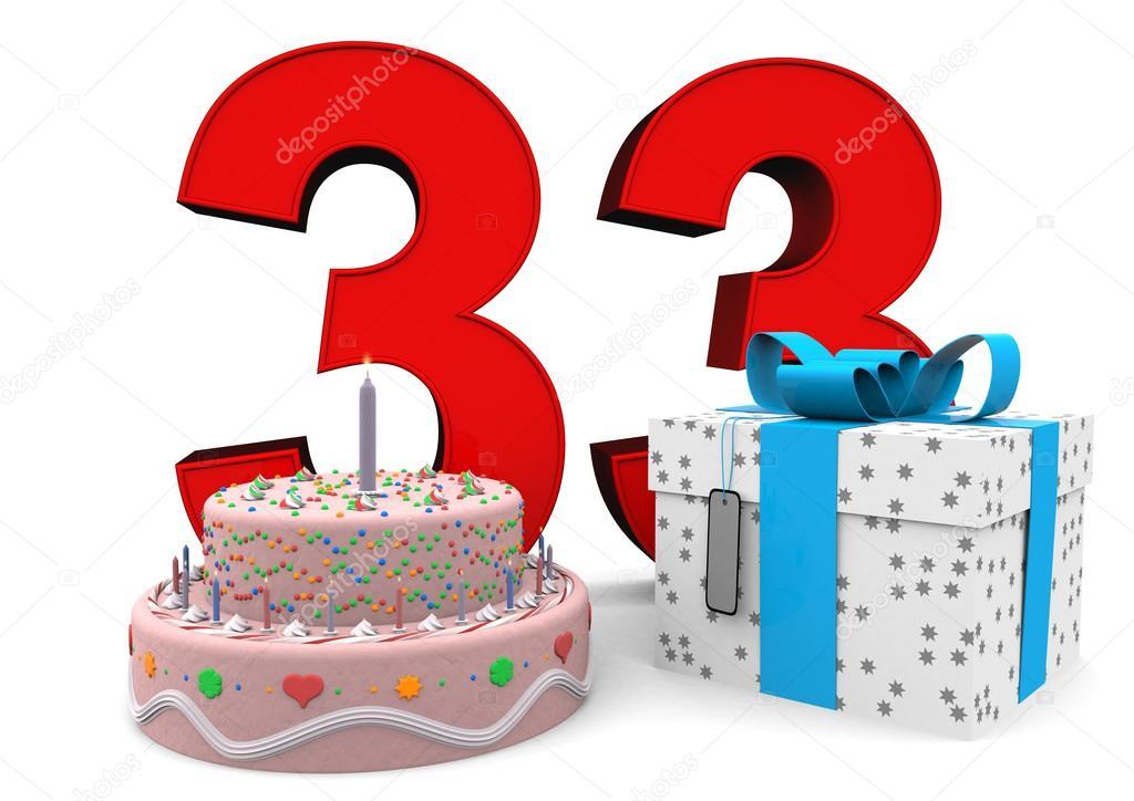 Glücklich Geburtstag Geschenk Und Kuchen Stockfoto