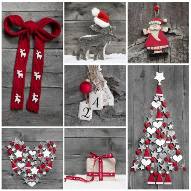 Collage of different red, white and grey christmas decoration on