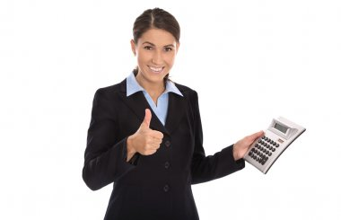 Happy isolated businesswoman showing pocket calculator.