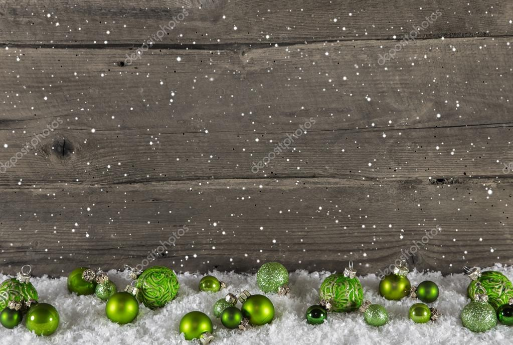 Rustic Wooden Country Background With Green Christmas Balls Stock Photo