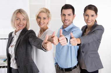 Successful business team in portrait: more woman as men with thu