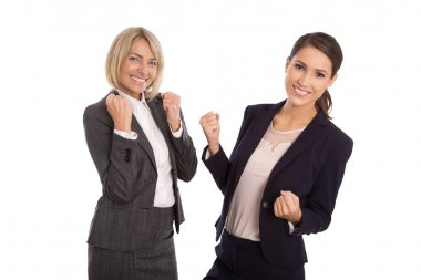 Team of two isolated business woman celebrating her success and