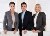 Fotografie Portrait of three business people: man and woman in a team.