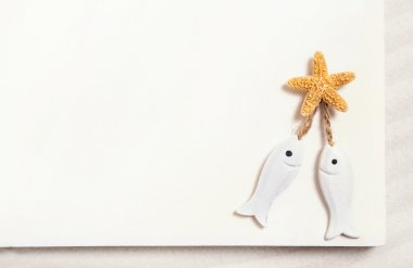 Two white fishes with starfish on a white summer background for