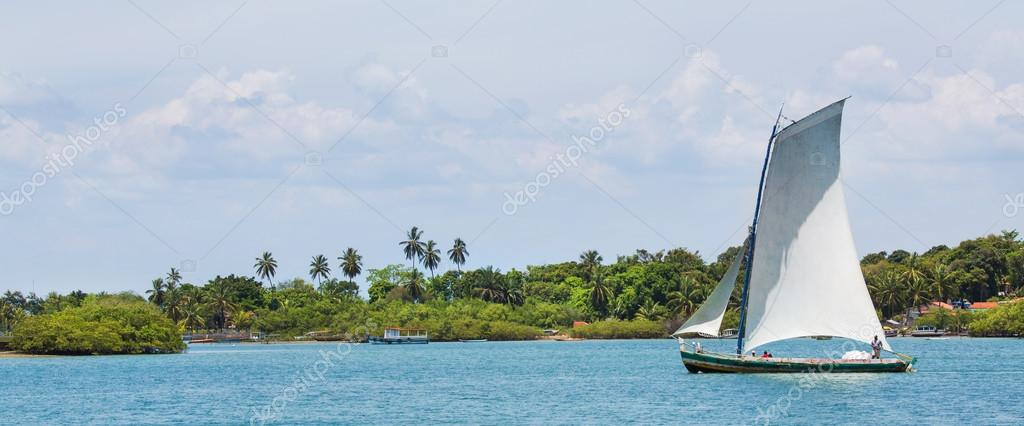 Traditional handmade sail boat in the amazon of Brazil.