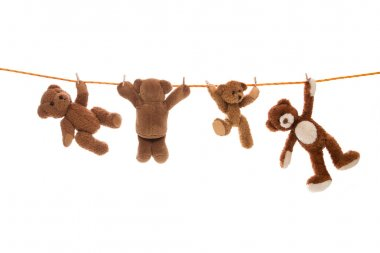 Hanging group of teddy bears on a clothing line with pegs.