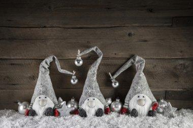 """Картина, постер, плакат, фотообои """"три подарка ручной работы на деревянном фоне для рождественских украшений """", артикул 78750648"""