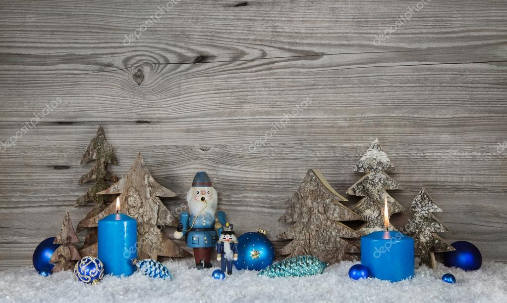 Country Christmas Background.Wooden Christmas Background In Grey With Blue Turquoise