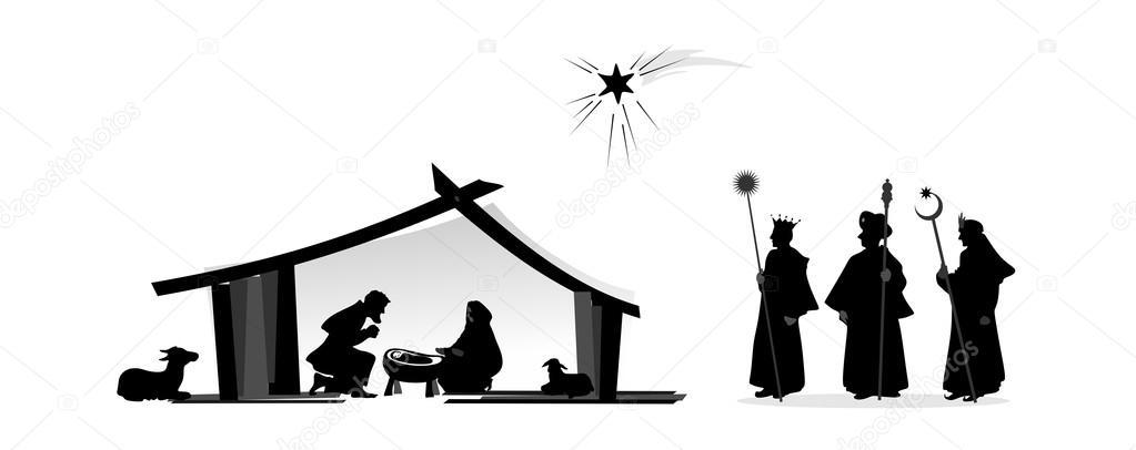 Siluetas nacimiento de jesus | auto del nacimiento — Foto de stock ...