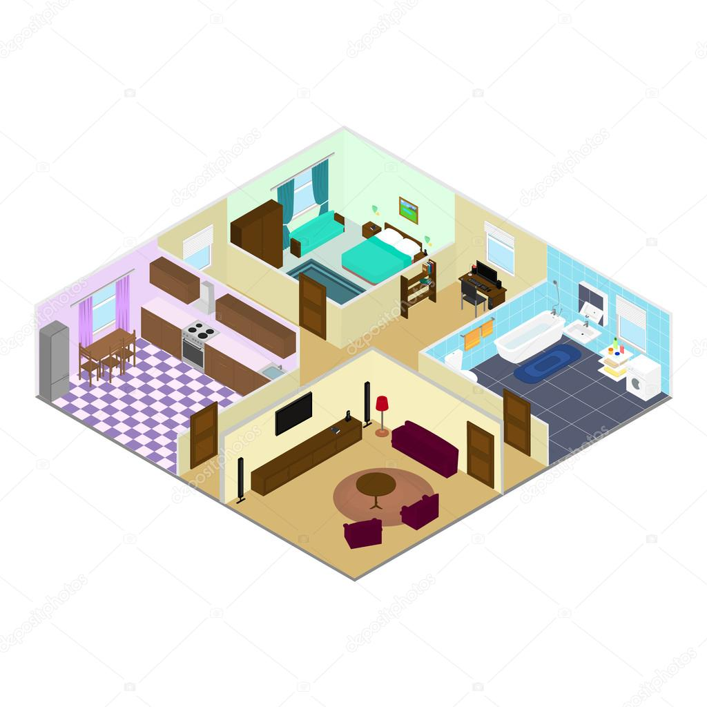 The interior of the rooms inside the house in the isometric stock the interior of the rooms inside the house in the isometric stock vector ccuart Choice Image