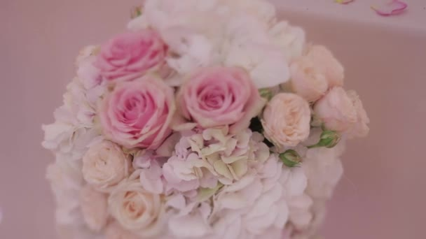 Bridal Bouquet of Flowers on a Light Background