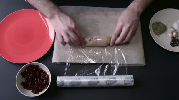 Chicken Roll Wrap in Plastic Wrap