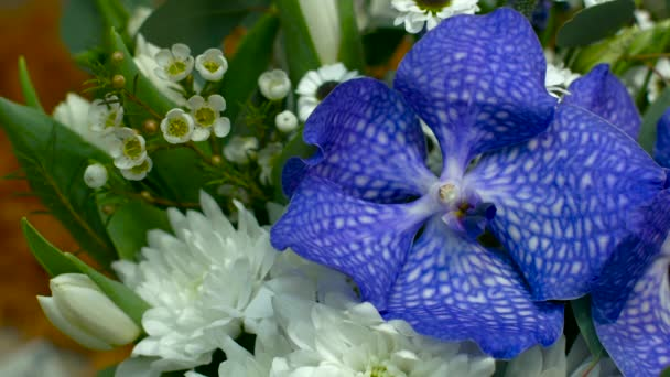 Blue Vanda Orchid in the Bouquet, a Top View