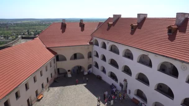 Red Slate Roofs of the Courtyard of Castle