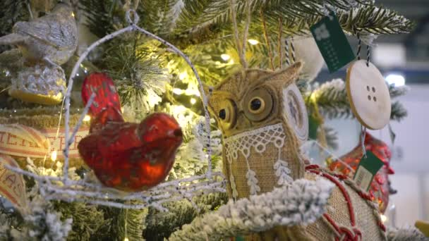 Roztomilá pletená sova vánoční dekorace