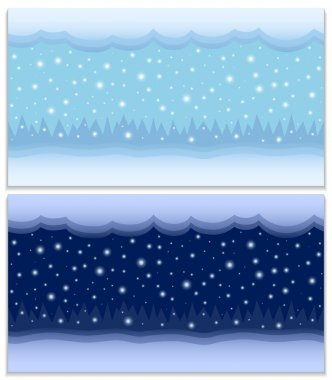 Winter day and night two vector seamless backgrounds