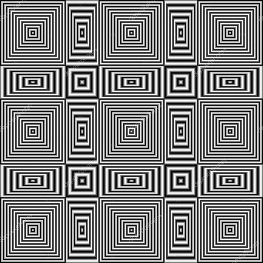 Flickering geometric optical illusion pattern with black and white stripes