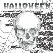 Halloween-Postkarte mit Totenkopf in Punkten