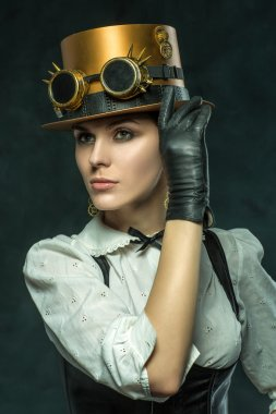 Portrait of a beautiful steampunk girl