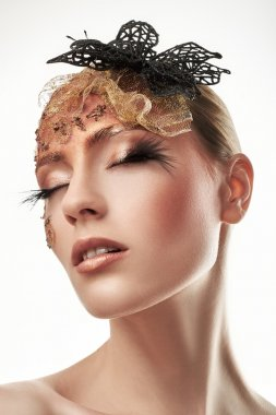 Creative Makeup. False eyelashes. stock vector