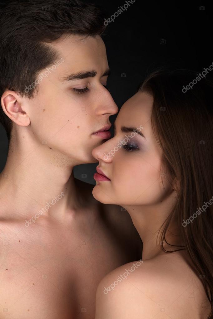 Kissing couple portrait