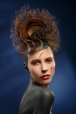 beautiful fashion woman color face