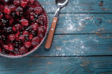 Berry pie on a wooden table