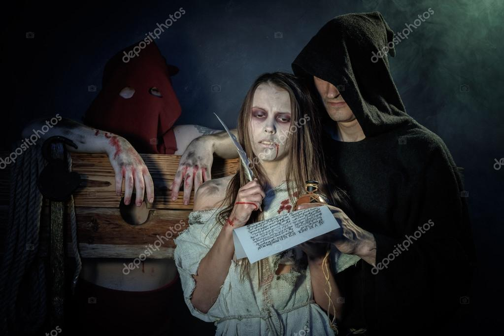 Welp Halloween. The Middle Ages. Witch sign a verdict of the Inquisit FH-94