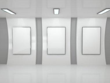 three blank frame in loft room