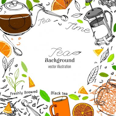 Hand drawn tea time image in artistic style. Vector editable illustration on a white background. Glass round teapot, coffeemaker, spoons and cups, orange slices and tea leaves. stock vector