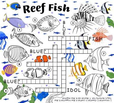Coral reef fish crossword. Endangered fish species.