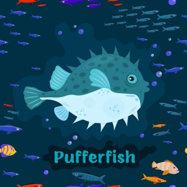 Pufferfish. Endangered fish species concept. Vector illustration