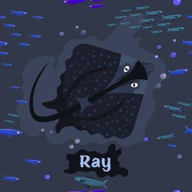 Ray. Endangered fish species. Editable vector illustration