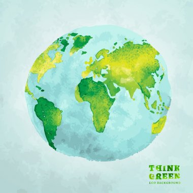 Vector watercolor hand drawn painted Illustration of environmentally friendly World map. Think Green. Ecology Concept. Globe watercolour vector image. clip art vector