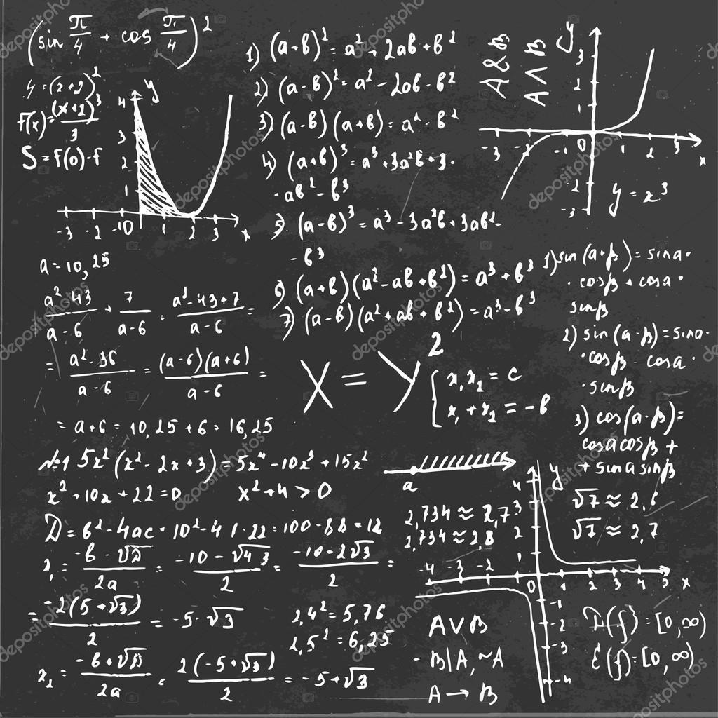 algebra formula board stock vector annyart 74656399