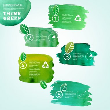 Vector watercolor hand drawn painted Illustration of environmentally friendly infographics. Think Green. Ecology Concept with paint splashes. Ideal elements for poster, brochure and leaflet design. clip art vector