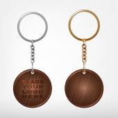 wooden and metal oval keychain