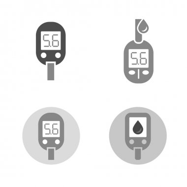 Beautiful vector diabetic set. Glucometer flat icons. Medical editable illustration in gray and white colors isolated on white background. clip art vector