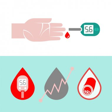 Beautiful vector diabetic set. Blood testing flat icons. Medical editable illustration in gray, green, red, light green and white colors isolated on white background. stock vector
