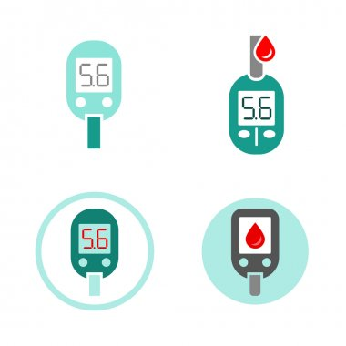 Beautiful vector diabetic set. Glucometer flat icons. Medical editable illustration in gray, green, red, light green and white colors isolated on white background. clip art vector