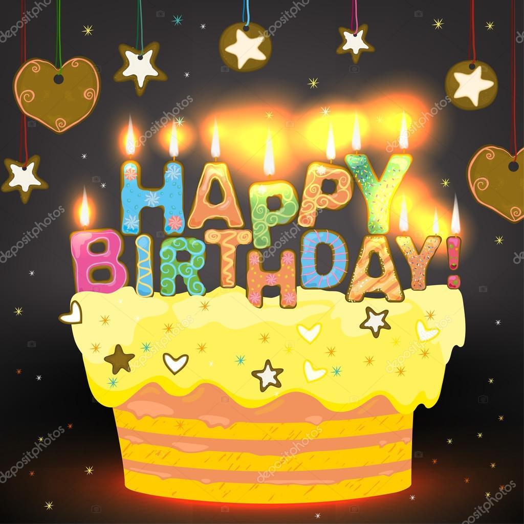 Sweet Happy Birthday Cake Stock Vector Annyart 93684612