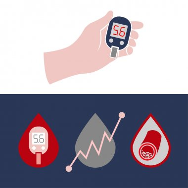 Beautiful vector diabetic set. Blood testing flat icons. Medical editable illustration in gray, violet, red, blue and white colors isolated on white background. clip art vector