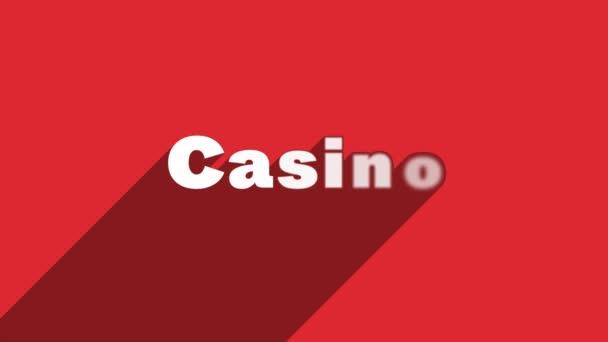 Bílá písmena CASINO se stínovou animací banneru na červeném pozadí. Grafická animace pohybu videa 4K.